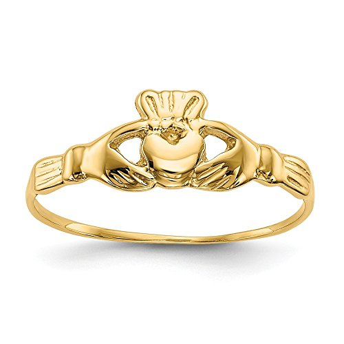 14k Yellow Gold Childs Irish Claddagh Celtic Knot Band Ring Size 4.50 Baby Fine Jewelry For Women Gifts For Her