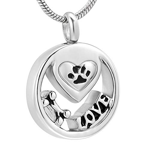 TIANZXS Pet Paw Print Recuerdo Cremación Joyería Acero Inoxidable Cenizas Titular Perro Gato Urna Colgante Collar conmemorativo para Hombres Mujeres