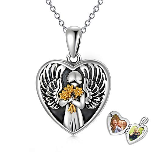 Sterling Silver Angel Heart Locket Necklace Sunflower Photo Pendant Cremation Jewelry Birthday Gift for Women Engraved Forever In My Heart