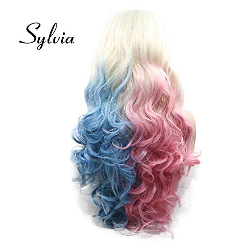 Sylvia Ombre Platinum Blonde to Blue Pink Lace Front Wig Rainbow Colorful Synthetic Wigs 24 Inch Body Wave Half Hand Tied Wig Middle Part 180% Density Heat Resistant Hair Replacement for Woman
