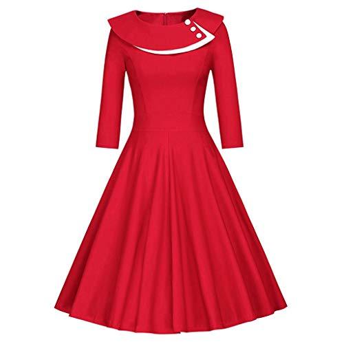 Damen Vintage Kleid Cocktailkleider Rockabilly Halber Ärmel Partykleider Abendkleider Kurz,Schöne Elegant Swing Kleider Solide Retro Ballkleid Kleid Abendkleider URIBAKY