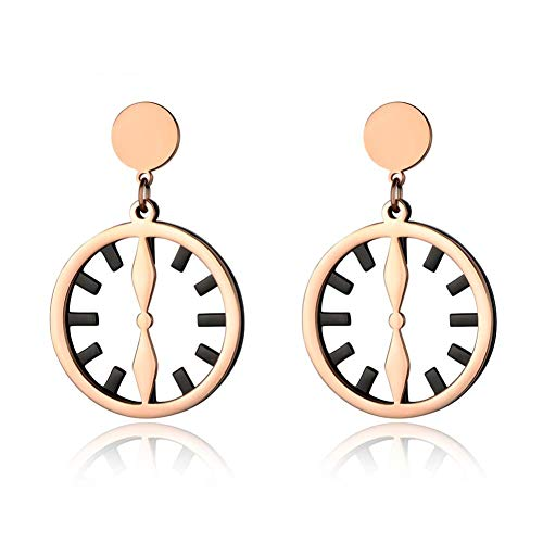 NFRADFM Black and rose gold clock shape 2-tier earrings stainless steel jewelry ladies gifts
