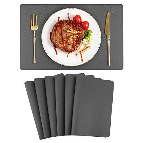 Auxtun Platzset Lederoptik 6er Set wasserdichte Tischset PU Leder Abwischbar Kunsetleder Platzdecken 42x30cm Dunkelgrau für Hause Küche Restaurant und Hotel