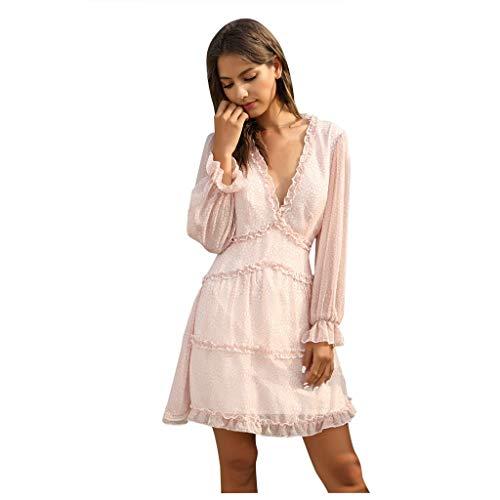 UNSKAM Damen Retro Laternenhülse Minikleid Damen Sommerkleider Sexy Tief V-Ausschnitt Partykleid Langarm Elegant Faltenrock Cocktailkleid