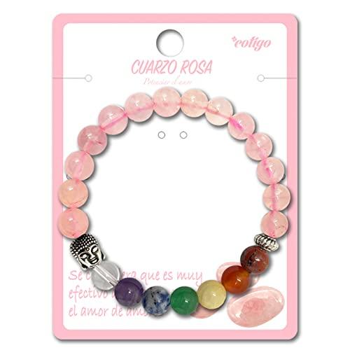 Pulsera de los 7 Chakras Piedras Preciosas Naturales de Cuarzo Rosa con Buda Pulsera elastica de...
