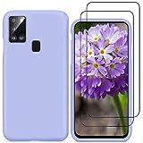 YiKaDa - Cover per Samsung Galaxy A21s + [2 Pack] Pellicola Protettiva in Vetro Temperato, Custodia Liquid Silicone Leggero Cover Antiurto con Morbida Microfibra Fodera - Viola