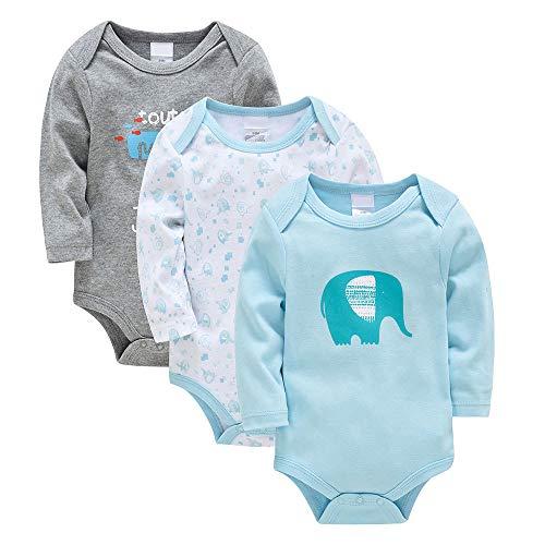 Bebé Body Pack de 3 - Mono Niños Mameluco Manga Larga para Niñas Pijama Trajes de Invierno Algodón Recién Nacido Pelele Ropa Elefante Azul 0-3 Meses