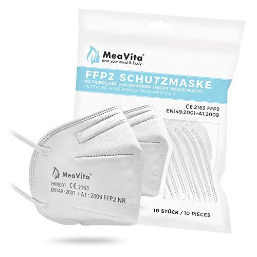 MeaVita FFP2 Maske, EU CE Zertifizierte Mund- und Nasenschutz nach EN149:2001+A1:2009, Atemschutz hohe Filtration, Partikelfiltermaske, Gummizug 10er Pack TÜV Rheinland geprüft