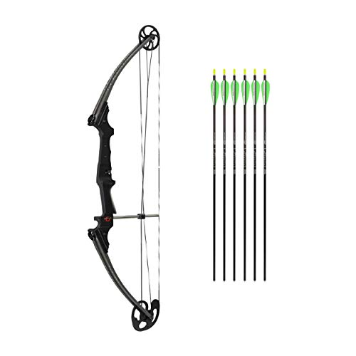 Genesis Original Bow Youth Compound Bow Bundle with Six Arrows | Official Bow of The National Archery in The Schools Program (NASP) | Left Hand, Carbon Dark Grey