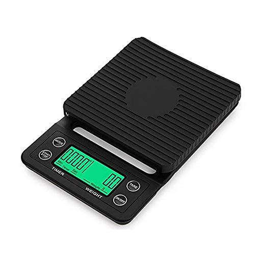 PRWJH Digitale Gewichtskaffeewaage, tragbare Mini-Waage mit elektronischer Zeitschaltuhr, 5 kg / 0,1 g