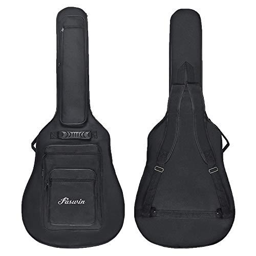 FaswinAZB 41 (incluye bolsa de transporte acolchada para guitarra acústica con 6 bolsillos, Pick Sampler y correa para guitarra