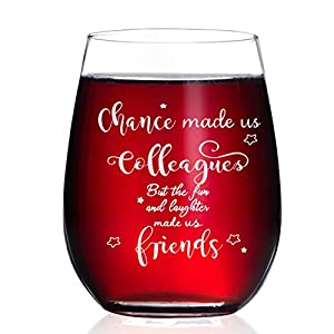 FUNNY WINE GLASS GIFT FOR Coworker! - If you are looking for a funny birthday gift idea to surprise your girlfriend,best friend, office coworker, bff,wife or sister then the 15 oz wine glass with saying is the way to go. High Quality:Our funny friend...