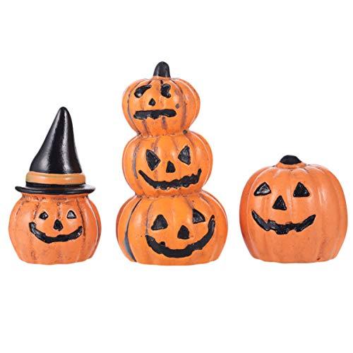 POPETPOP 3 Piezas de Jardín de Hadas de Halloween en Miniatura Decoraciones de Figurillas de Calabaza Adornos Accesorios de Casa de Muñecas Favores de Fiesta de Halloween Rellenos de