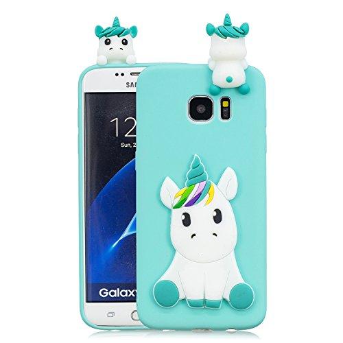 Leton Cover Samsung Galaxy S6 Edge Silicone Unicorno 3D Morbido TPU Gel Custodia Galaxy S6 Edge Antiurto Ultra Sottile Flessibile Gomma Case Protettiva Bumper Candy Copertura 3D Papa Unicorno Verde