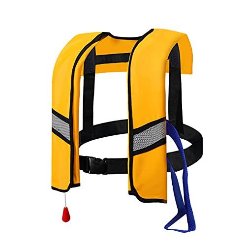 SANHH Chalecas de Vida Adultas, Chalecos de Vida inflables automáticos Nadando flotadores Vida Salvavidas Pesca Surfing Buceo y Deportes acuáticos Chaquetas de Seguridad Yellow-One Size