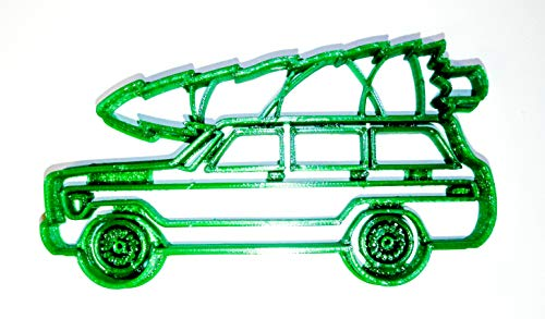 VINTAGE CLASSIC ANTIQUE WOOD PANEL STATION WAGON WOODIE WITH CHRISTMAS TREE SPECIAL OCCASION COOKIE CUTTER BAKING TOOL 3D PRINTED MADE IN USA PR2243
