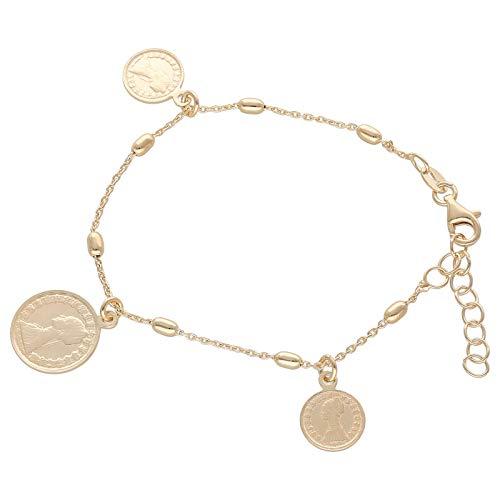 Smart Jewel Armband Mit Münzen, Silber 925 Gold, 19 Cm 925 Sterling Silber