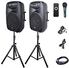 Best PRORECK PARTY 15 Portable 15-Inch 2000 Watt 2-Way Powered PA Speaker System Combo Set with Bluetooth/USB/SD Card Reader/FM Radio/Remote Control/LED Light Review