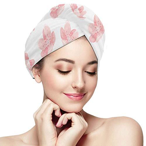 QHMY Rose Cheery Blossom Sakura Fleur Cheveux Sec Chapeau Séchage Rapide Serviette Cheveux Absorbant Doux Séchage Rapide Cheveux Turban Serviette Cheveux Séchage Rapide Cheveux Cap Cap Sèche Cheveux