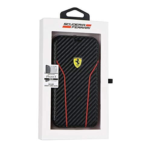 CG MOBILE - Funda de Libro Textura Carbono Oficial Ferrari - iPhone 8 Plus - iPhone 7 Plus - iPhone 6 Plus - blíster...