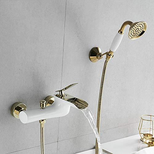 HNBMC Badewannenarmaturen, Chrom Bad Dusche Set Weiß Dusche Set Badewanne Mischbatterie Dual Control Dusche Wandmontage für Badezimmer,Gold