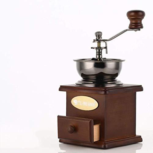 WCJ Manuelle Schleifmaschine Bowl Kaffeemaschine Mühle, Edelstahl Holz einstellbare Dicker Metallzahnradschleif Kern, altmodische Kurbelmühle