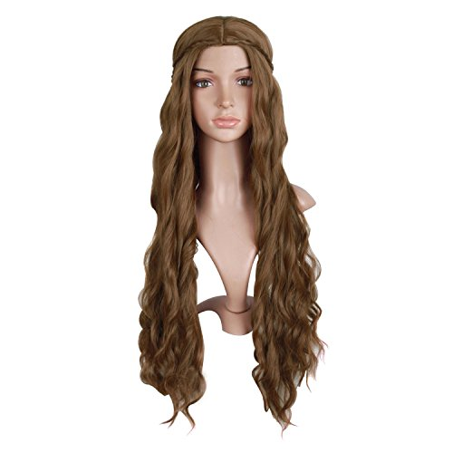 MapofBeauty 30 Inch/75cm Dignified and Elegant Side Bangs Women Long Wavy Curly Cosplay Braided Queen Wigs (Flax Brown)