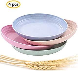 """Lightweight &Unbreakable Wheat Straw Plates 7.87""""4 Pack, Non-Toxin Healthy Eco-Friendly Degradable Dishes, BPA free plates,Dishwasher Microwave Safe Plates,Reusable Plate for Fruit Snack Container."""