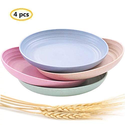 "Lightweight &Unbreakable Wheat Straw Plates 7.87""4 Pack, Non-Toxin Healthy Eco-Friendly Degradable Dishes, BPA free plates,Dishwasher Microwave Safe Plates,Reusable Plate for Fruit Snack Container."