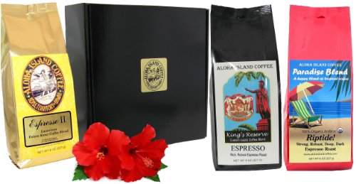 Gift Boxed, Espresso Coffee of the Month Club, Pure Kona and Kona Hawaiian Blend Espresso Roast Coffee Shipped Monthly for Six Months, First Shipment Is Gift Boxed, Best Gift for Espresso Lovers