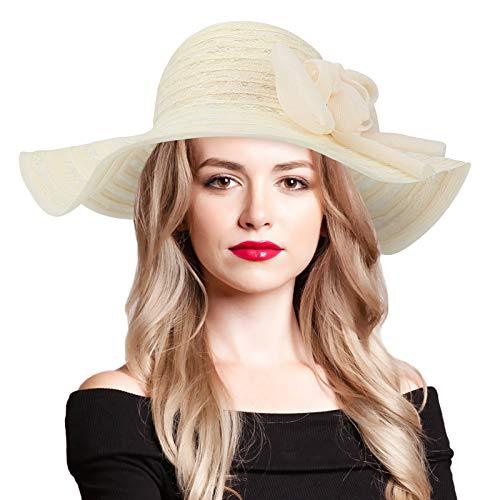 CestMall Cappelli da sole estivi in pizzo da donna per donna, cappello a tesa larga pieghevole Cappello floscio da donna con protezione UV 50+ Cappello da sole da spiaggia UPF Fiore rimovibile