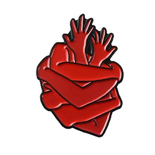 Zonster Corazón Abrazo Pin con Las Dos Manos en Forma de Broche de la Solapa de la Linda Pin para el Día de San Valentín