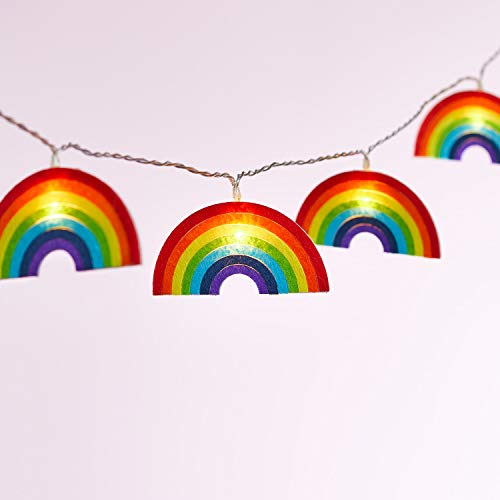 Lights4fun 10er LED Regenbogen Lichterkette mit Filz Motiven Kinderzimmer Timer Batteriebetrieb
