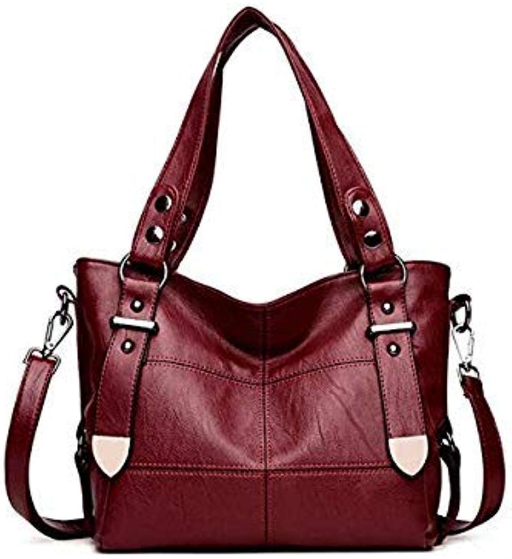 Luxury Handbags Women Bags Designer Handbags high Quality Womens Shoulder Bag pu Leather Women Big Bag Casual Tote sac a Main RED Wine