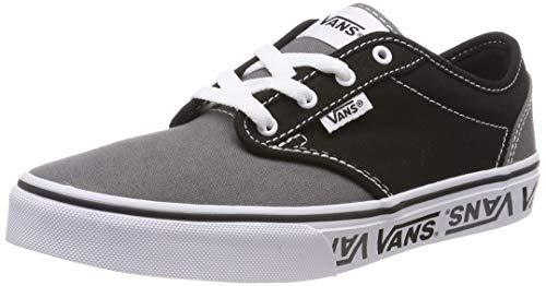 Vans Atwood Canvas Classic, Zapatillas Niños, Negro ((Sidewall Logo) Black/Gray Veg), 34 EU