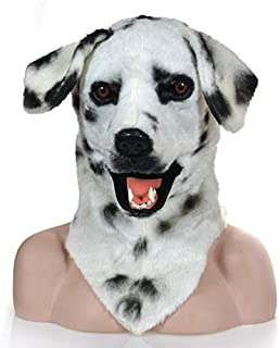 WNGCAR AU Moving Mouth Faux Fur Adult Costume Mask - Mouth Mover Dalmation Mask (Color : White)