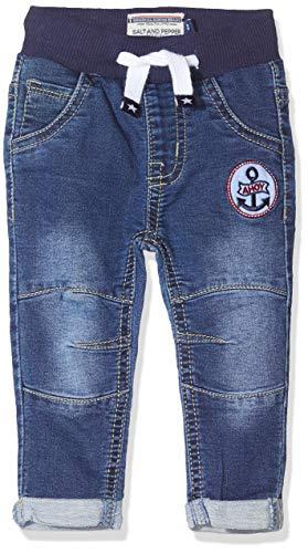 SALT AND PEPPER Baby-Jungen mit Anker Badge und Krakenmotiv als Stickerei Jeans, Blau (Original 099), (Herstellergröße: 80)