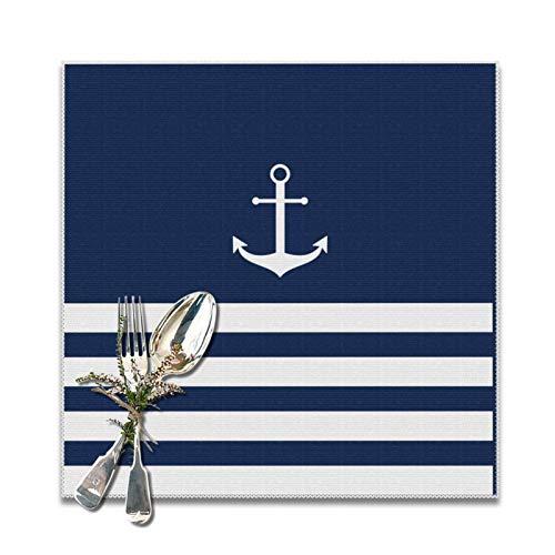 Tischsets mit blau-weiß gestreiftem Anker, waschbar, Dekoration, Platzset für Restaurant, Küche, Esstisch, 30,5 x 30,5 cm