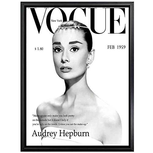 Cuadros Beauty Vogue Audrey Hepburn Impresiones y carteles de arte de pared Cuadros de lienzo de moda Cuadros para la decoración de la sala de estar para el hogar 50x70cm (Sin marco) artppolr