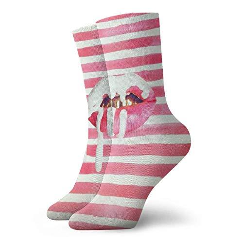 Kurze Socken Crew Damen Sexy Lippen Weiß Rosa Streifen 3D Druck Winter Sport Athletic Socken 30 cm lange Socken