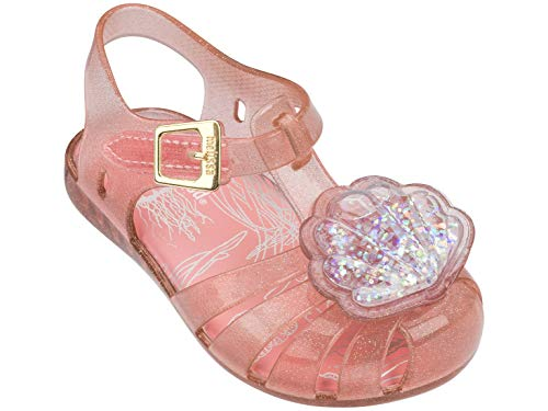 Melissa Sandals Mini Aranha XII BB (20EU, Pink) Jelly Shoes Caged Toe for Toddlers and Girls. Waterproof Recycled Rubber Shimmered Shoes. (Size 5 US / 20 EU)