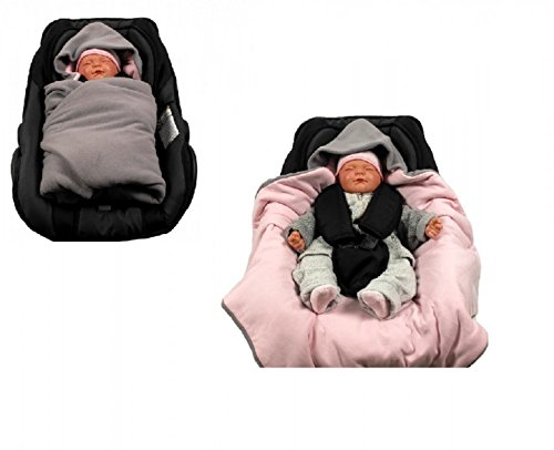 Einschlagdecke für die Babyschale Fußsack in verschiedenen Farben von HOBEA-Germany (Winter, grau/rosa)