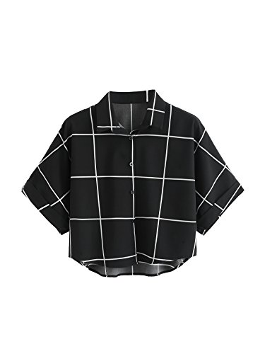MakeMeChic Women's Summer Half Sleeve Dip Hem Plain Pocket T-Shirt Blouse Crop Top #Black S