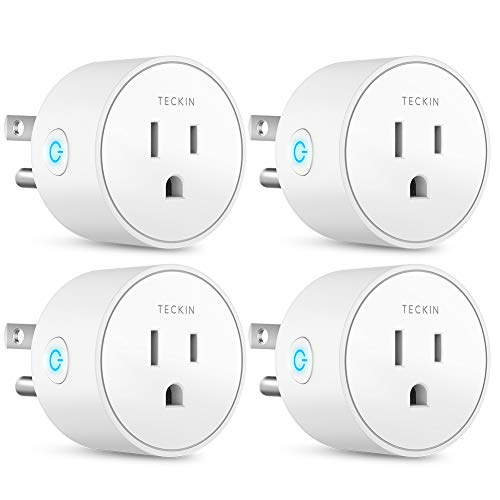 Smart Plug Works with Alexa Google Assistant SmartThings for Voice Control, Teckin Mini Smart Outlet Wifi plug with Timer Function, No Hub Required, White Fcc Etl Certified 4 packs