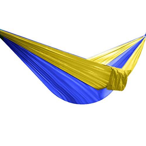 Jiji Feuilles suspendues extérieures Hamac Pliant Double Parachute Tissu Poids léger Résistant Indoor Loisirs Camping Sac à Dos (Color : Yellow Blue)