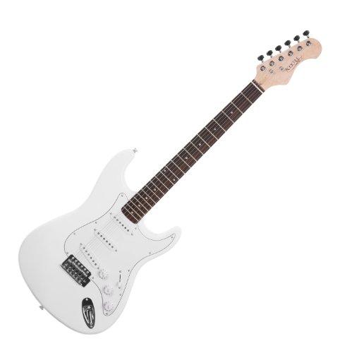 Rocktile Sphere Classic White E-Gitarre (weißes Schlagbrett, 3x Single Coil Tonabnehmer, 21 Bünde, Palisander Griffbrett, Tremolo-Bridge, inklusive 2,5m Gitarrenkabel, Tremolohebel und Inbusschlüssel)