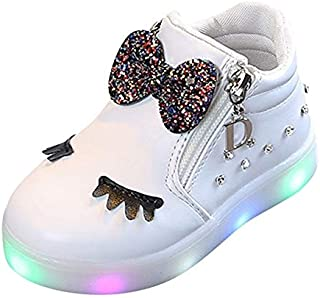 Children Shoes LED Luminous Soft Bottom Boots Sneakers Casual Shoes, Size:21(Red) Children Shoes (Color : White)