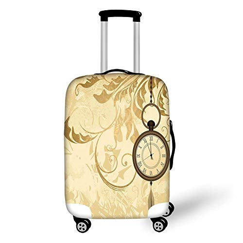 Travel Luggage Cover Suitcase Protector,Clock Decor,A Vintage Grungy Background Design with Pocket...