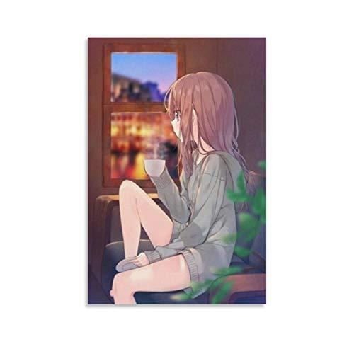 JTYK Póster artístico de anime Girl Sitting Alone y póster artístico para pared, impresión moderna de dormitorio familiar 60 x 90 cm