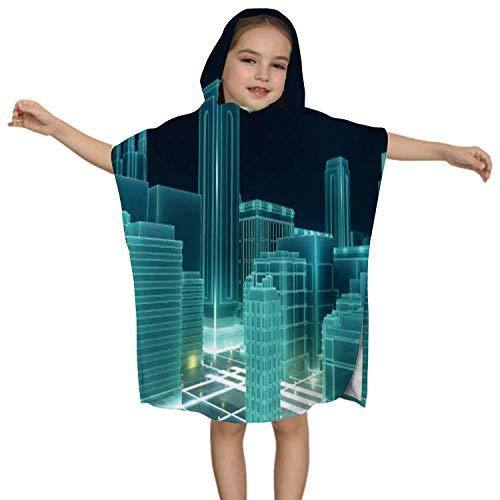 IUBBKI Abstraktes 3D-Stadt-Rendering mit Linien und digitalen Elementen. Technologie Blockchain Business Connection Concept -. Russland, Kinder Hooded Beach Badetuch - Pool Vertuschung Poncho Cape